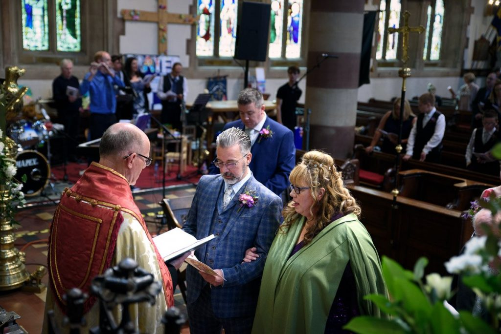 This is a photograph of the wedding service